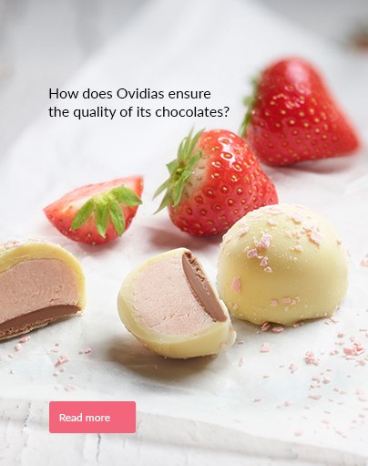 How does Ovidias ensure the quality of its chocolates?
